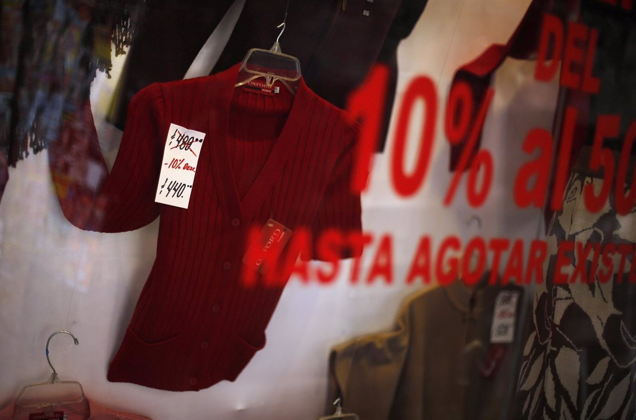 A discounted women's cardigan is seen at a clothing store in Mexico City