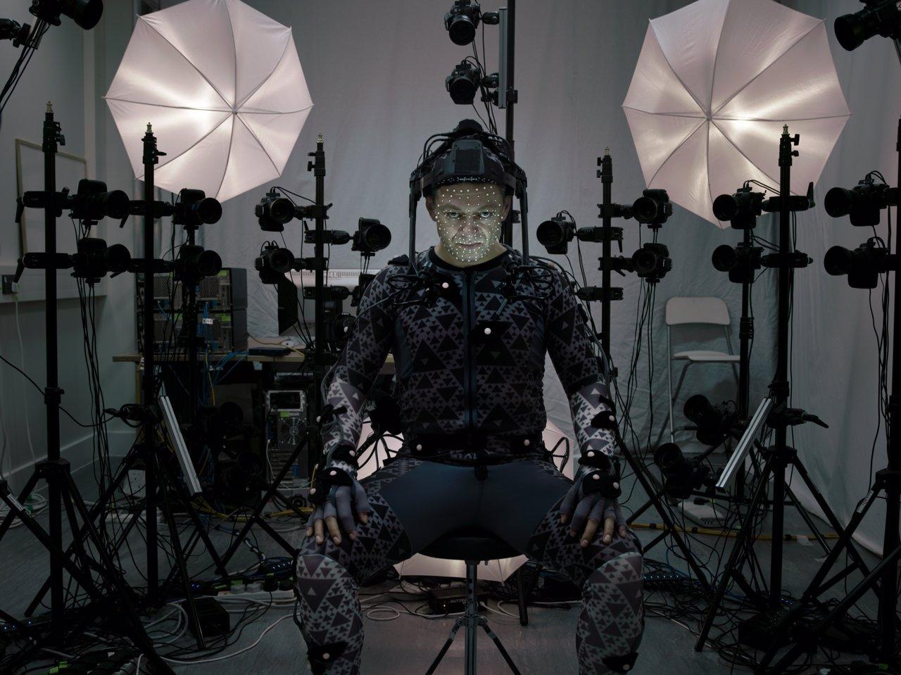 Andy Serkis en el rodaje de Star Wars