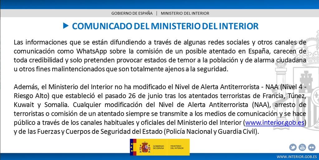 Interior no aumenta el nivel de alerta antiterrorista