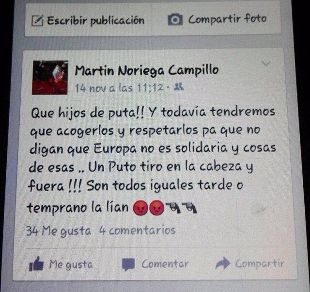 Captura de pantalla del mensaje de Martín Noriega.