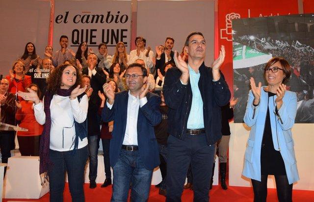 Pedro Sánchez, Miguel Ángel Heredia y María Gámez PSOE