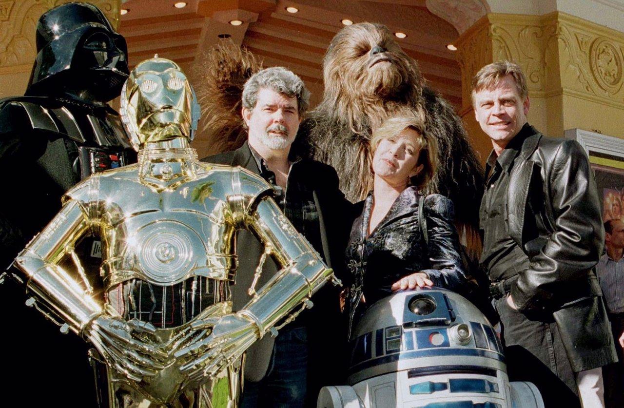 George Lucas con los protagonistas de Star Wars