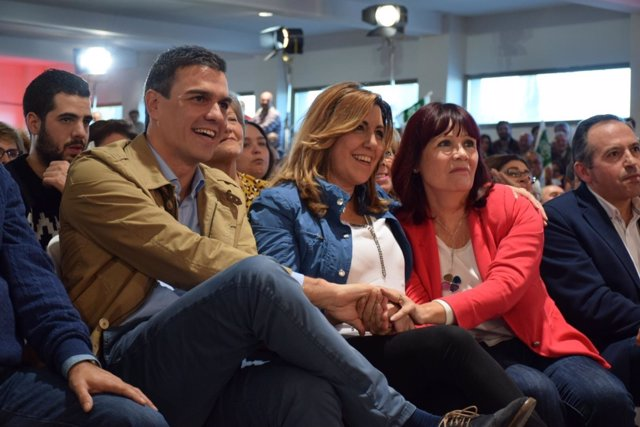 Pedro Sánchez, Susana Díaz y Micaela Navarro, este domingo en Jaén