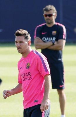 Leo Messi y Luis Enrique en una entrenamiento