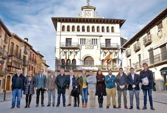 Los parlamentarios frente al Ayuntamiento de Olite.