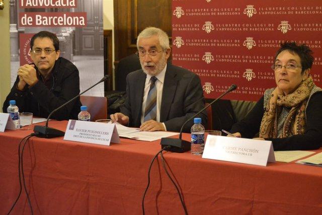 Eduard Ibáñez, Xavier Puigdollers y Carme Panchón en la rueda de prensa