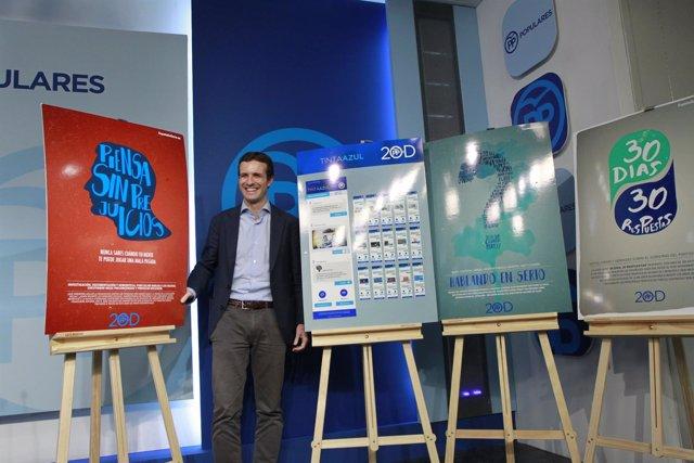 Pablo Casado presenta la campaña de publicidad del PP para las elecciones