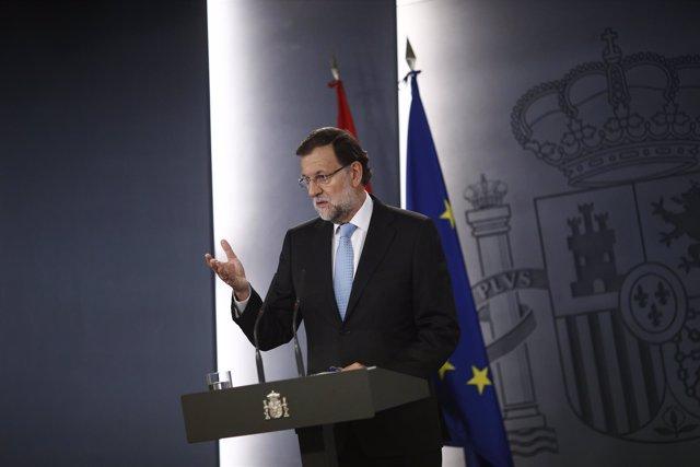 Mariano Rajoy comparece en Moncloa por la resolución independentista