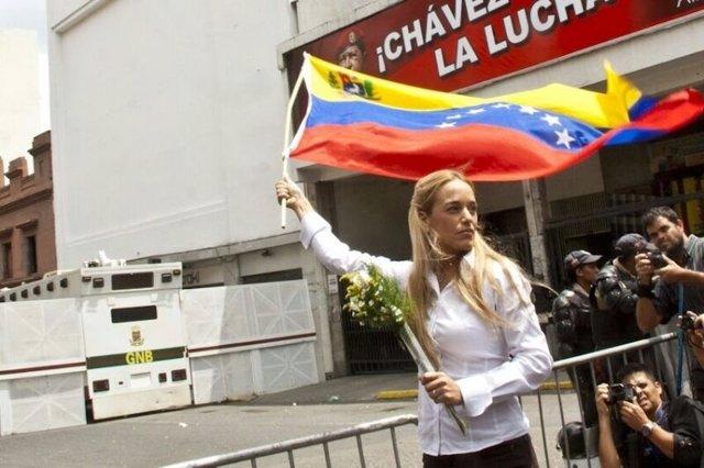 La mujer del líder opositor venezolano Leopoldo López, Lilian Tintori