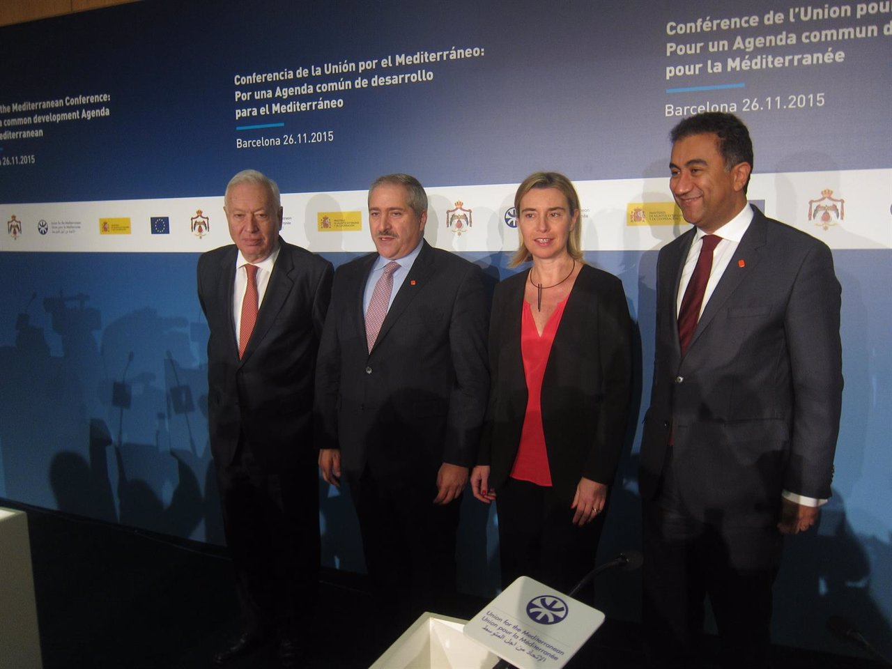 Ministros J.M.G.Margallo, N.Judeh (Jordania) F.Mogherini (UE) F.Sijilmassi (UpM)