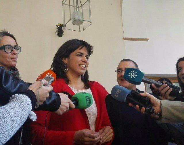 Teresa Rodríguez en atención a los medios este jueves