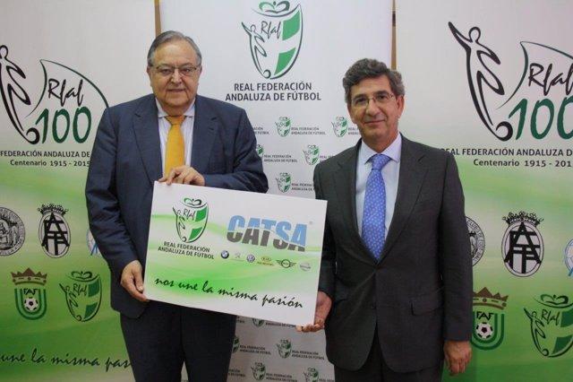 El presidente de la RFAF, Eduardo Herrera, y  de Grupo CATSA, José María Lancha.