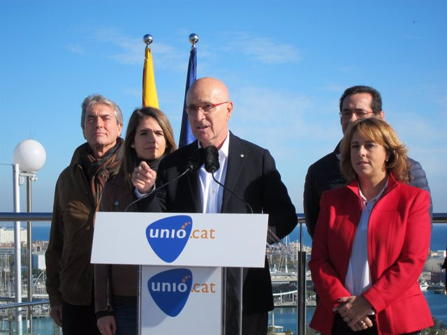 Josep Antoni Duran en declaraciones en Montjuïc (Barcelona)