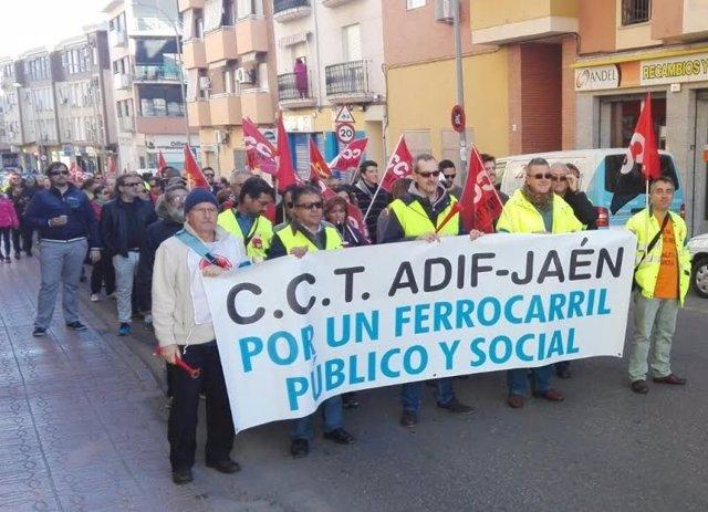 Manifestación en defensa del ferrocarril