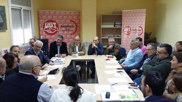 Reunión del PSOE de Cádiz con sindicatos