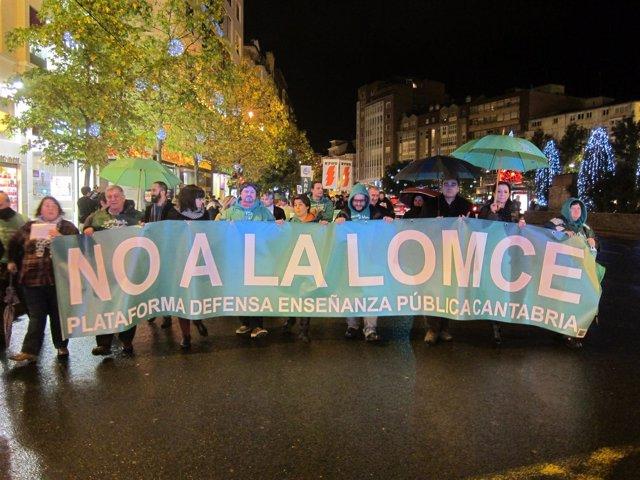 Manifestación contra la LOMCE en Santander