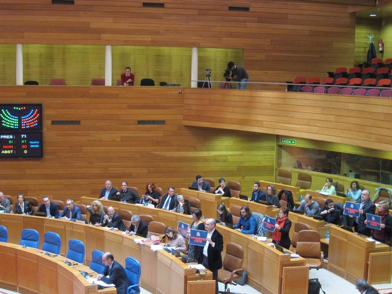 Votación del mandato marco de la CRTVG en el Parlamento gallego.