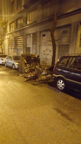 Tres contenedores quemados en distrito Centro