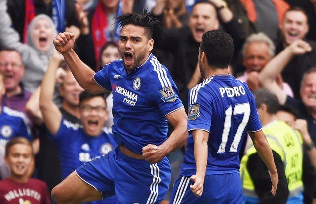 Radamel Falcao celebra un gol con el Chelsea