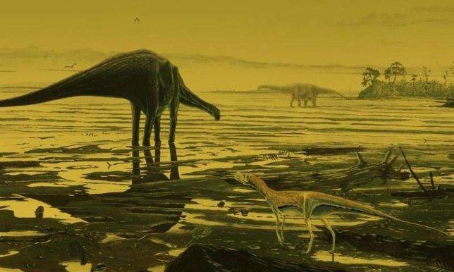 Impresión artística de dinosaurios en la isla de Skye