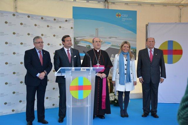 Acto de colocación de la primera piedra del nuevo colegio CEU en Bormujos