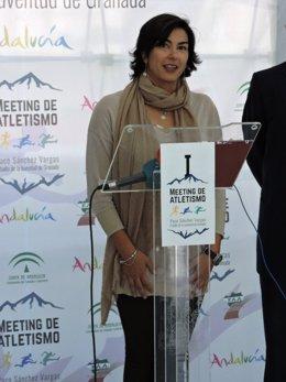 Rienda durante la presentación del Meeting en el Estadio de la Juventud.