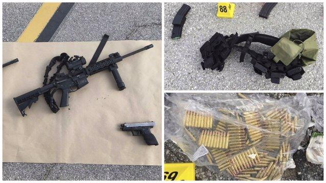 Montaje de las armas incautadas en la casa de los atacantes en San Bernardino