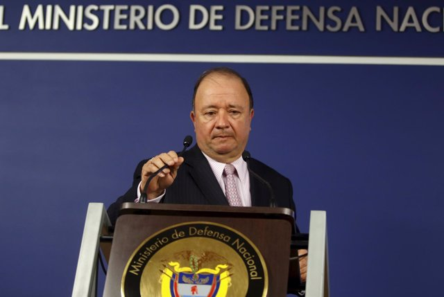 Colombia's Defense Minister Luis Carlos Villegas arrives at the Defense Ministry