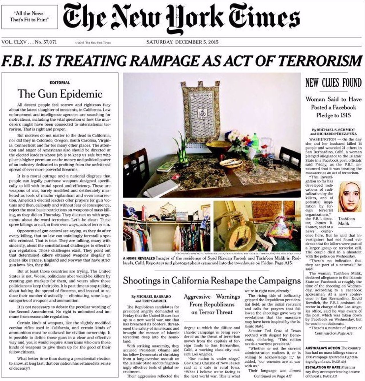 Editorial en portada del New York Times sobre el control de armas