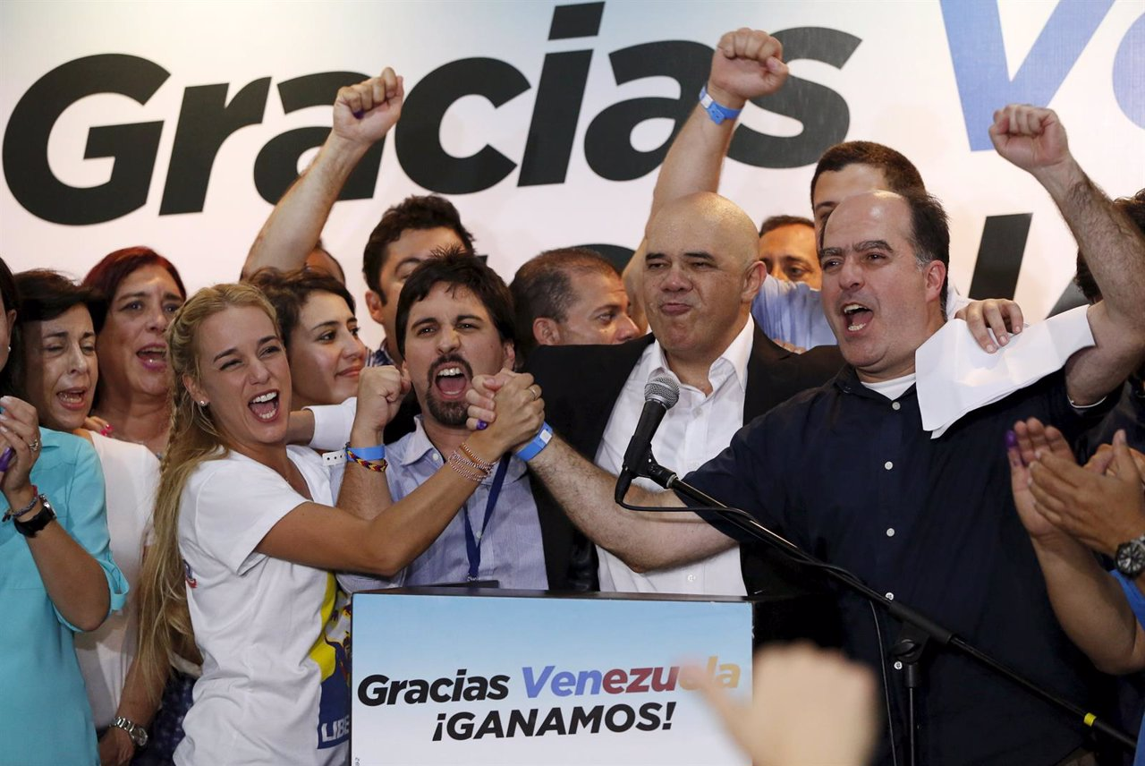 Lilian Tintori, wife of jailed Venezuelan opposition leader Leopoldo Lopez, cele