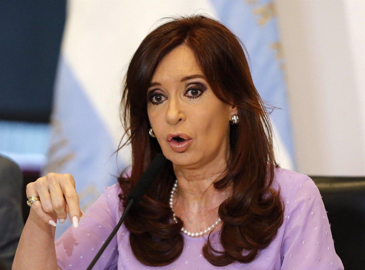 Argentina's President Cristina Fernandez de Kirchner gestures as she makes an an