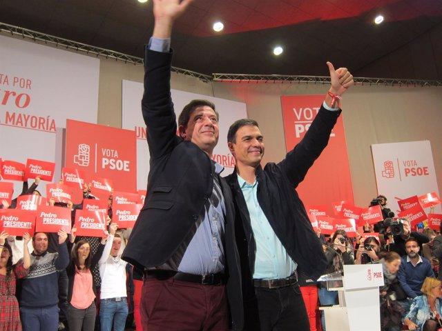 José Ramón Gómez Besteiro, con Pedro Sánchez en A Coruña
