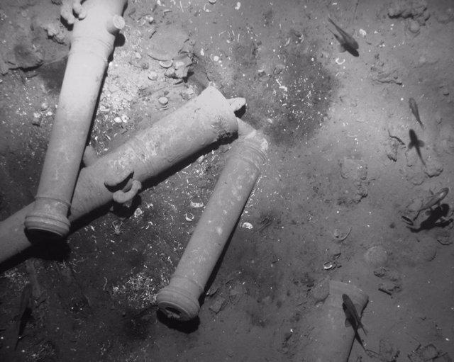 Cañones del galeón español 'San José', hundido en el Caribe colombiano