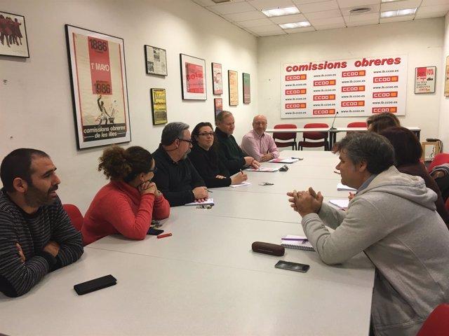 Reunión del candidato al Congreso del PSOE con CCOO