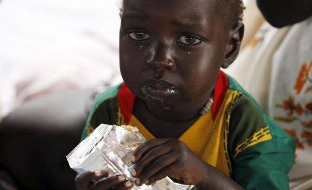 Niño refugiado de Sudán del Sur