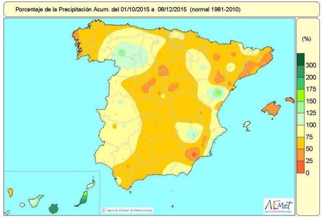 Situación de lluvias en España del 1 de octubre al 8 de diciembre