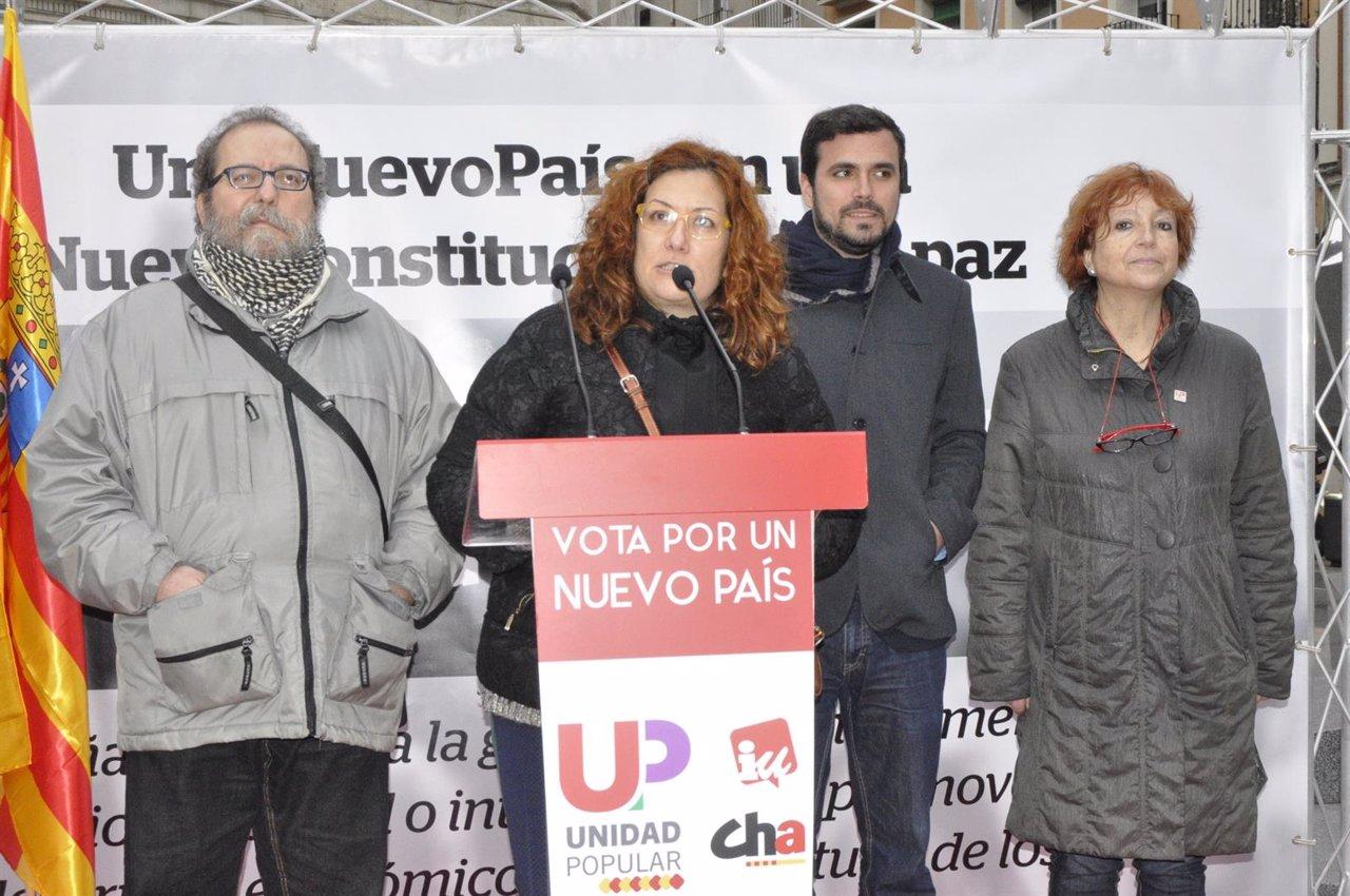 Alberto Garzón ha presentado el Decálogo para la Paz en Zaragoza.