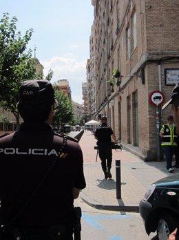 Imagen del dispositivo policial habilitado con motivo del hombre atrincherado