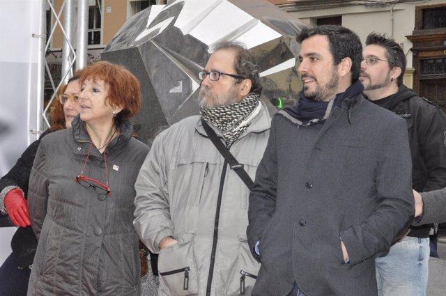 Rosa Magallón, Chesús Yuste y Alberto Garzón