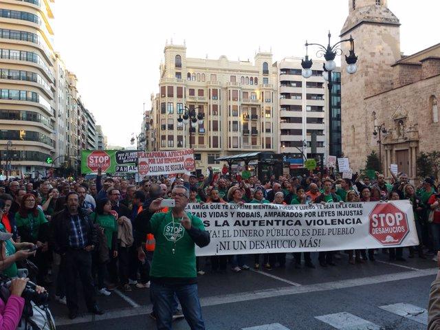 Manifestación de la PAH en Valencia