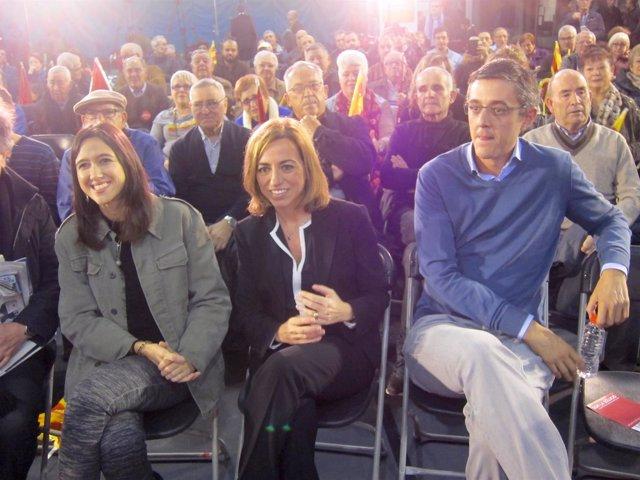 Núria Parlón, Carme Chacón (PSC), y Eduardo Madina (PSOE)