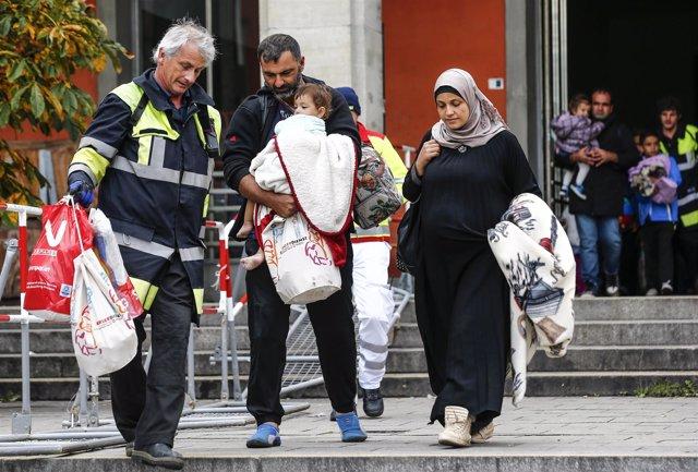 Refugiados llegan a la estación de tren de  Múnich