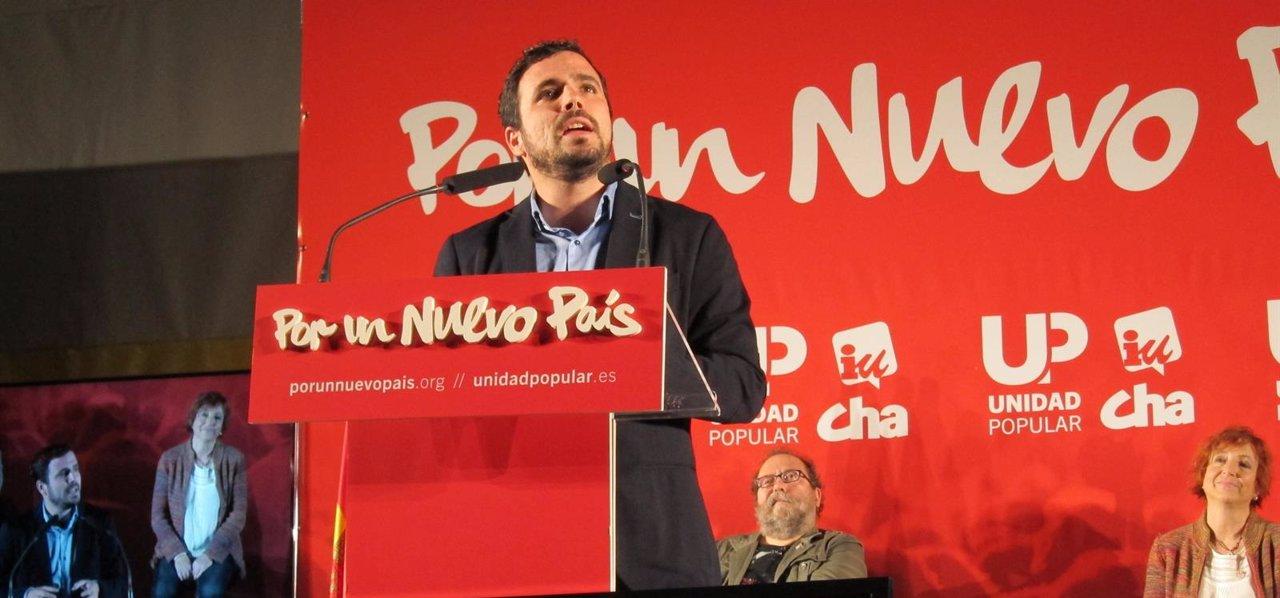 Alberto Garzón, en el mitin de Zaragoza