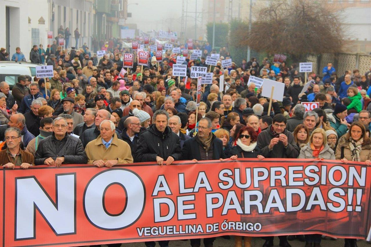 Manifestación celebrada hoy en Villarejo de Órbigo.