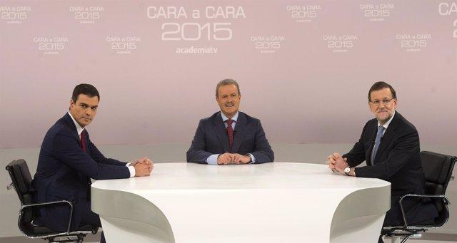 Mariano Rajoy y Pedro Sánchez en el debate 'cara a cara'