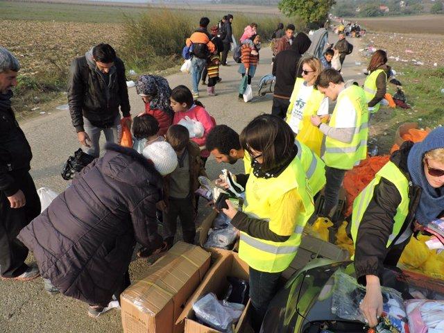Reparto de material de primera necesidad en Serbia_Farmamundi