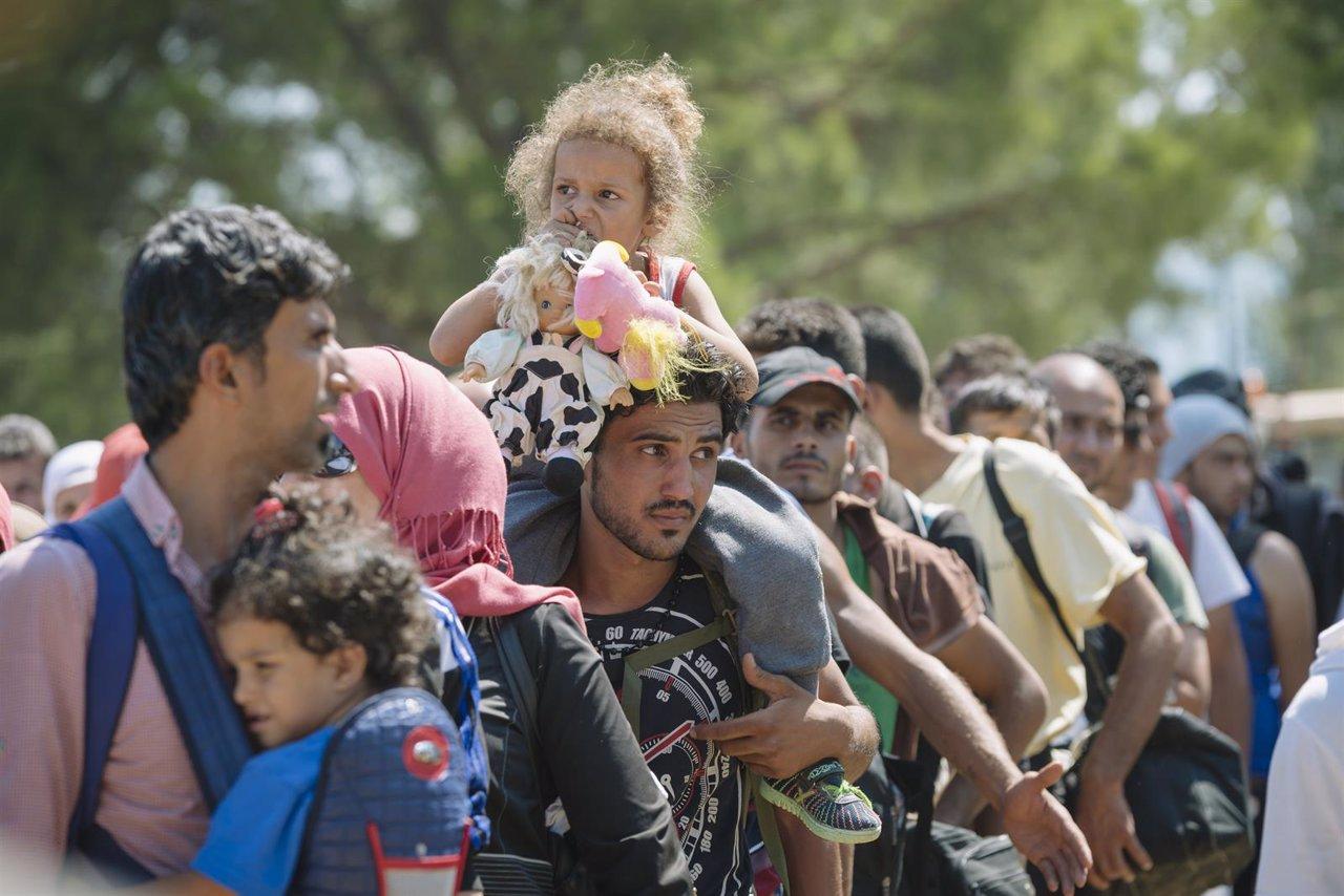 Un grupo de migrantes Macedonia