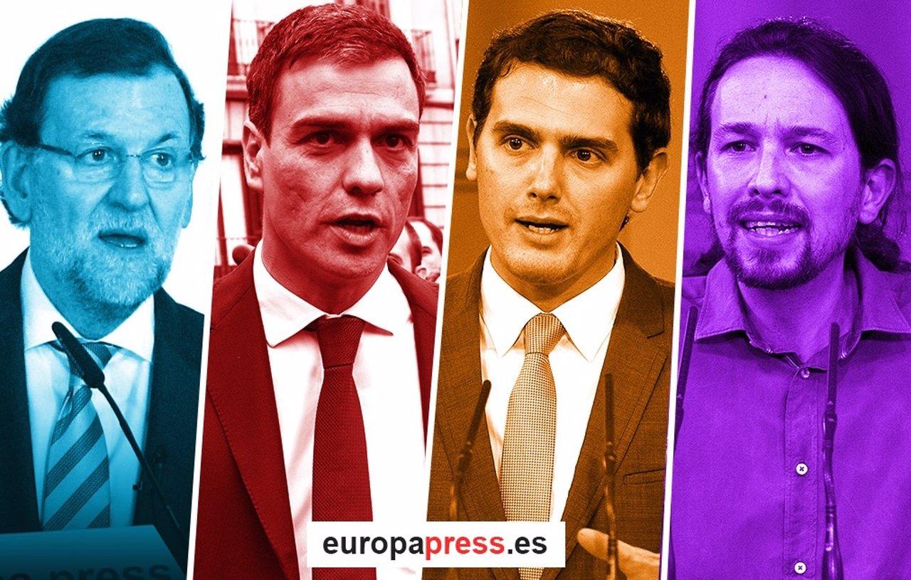 Montaje de Rajoy, Pedro Sánchez, Albert Rivera y Pablo Iglesias