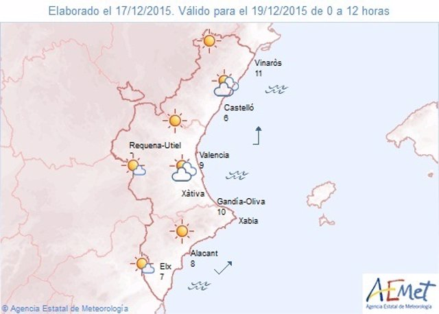 Predicción del tiempo para este sábado 19 de diciembre en la Comunitat