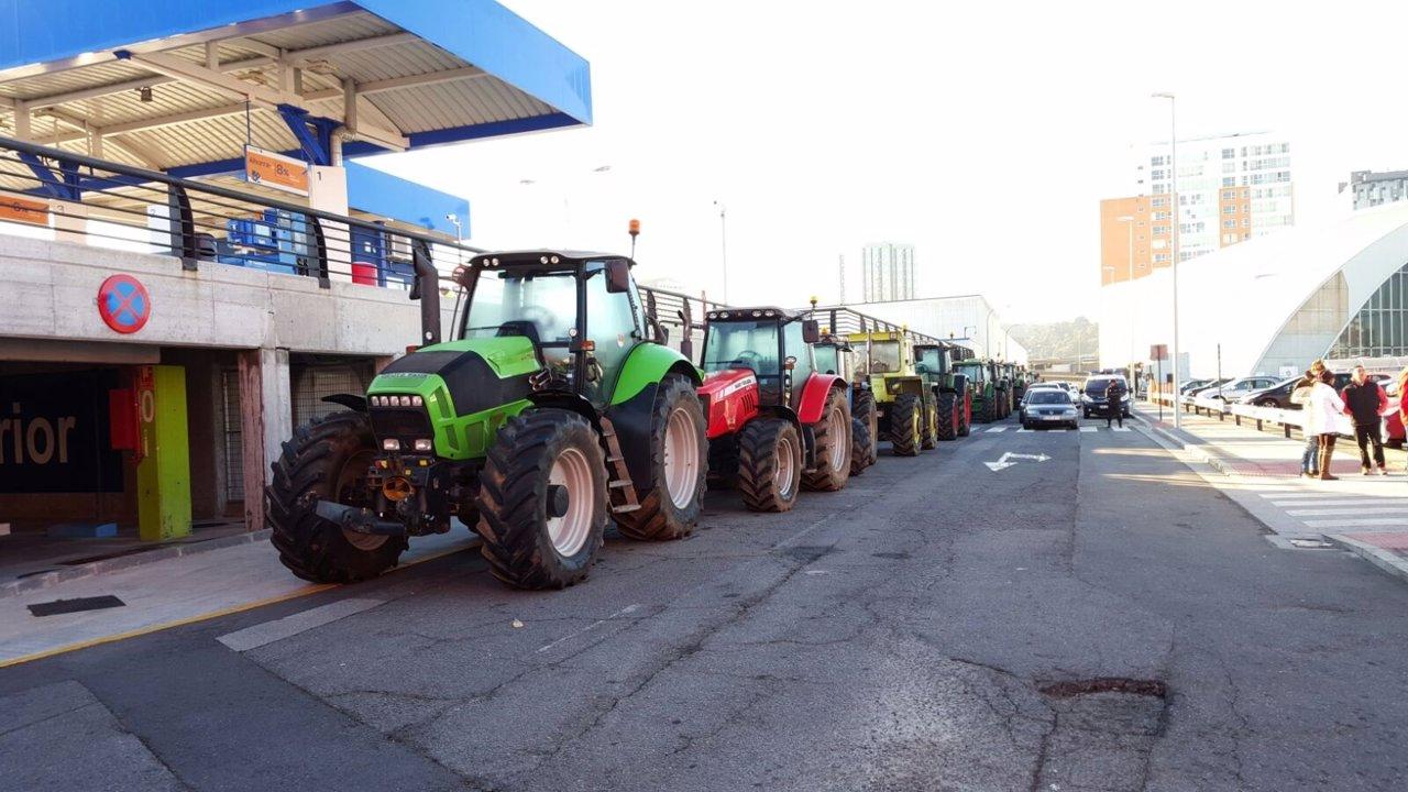 Protesta de tractores en A Coruña.